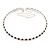 Thin Deep Purple/ Clear Austrian Crystal Choker Necklace In Rhodium Plated Metal - 33cm L/ 16cm Ext