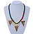 Statement Triangular Charm Black Chunky Chain With Multicoloured Silky Rope Necklace - 54cm L/ 7cm Ext - view 2