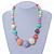 Chunky Multicoloured Graduated Acrylic Bead with Gold Rings Flex Necklace - 50cm L