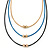 3 Strand, Beaded, Layered Mesh Chain Necklace In Black/ Blue/ Gold Tone - 86cm L - view 2