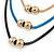 3 Strand, Beaded, Layered Mesh Chain Necklace In Black/ Blue/ Gold Tone - 86cm L - view 4