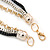 3 Strand, Layered Oval Link, Box Style Chain Necklace In Black/ Silver/ Gold Tone - 86cm L - view 4