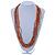 Multistrand Orange/ Metallic Silver Glass Bead Long Necklace - 76cm L - view 2