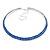 2-Row Sapphire Blue Austrian Crystal Choker Necklace In Silver Tone Metal - 38cm L/ 10cm Ext