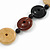 3 Strand Black/ Brown/ Neutral Round, Button Wooden Beads Necklace - 70cm - view 4