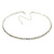 Thin AB Top Grade Austrian Crystal Choker Necklace In Rhodium Plated Metal - 36cm L/ 10cm Ext