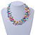 3 Row Pastel Multicoloured Shell And Glass Bead Necklace - 45cm L - view 3
