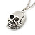 Small Gothic 'Skull' Pendant On Silver Tone Rolo Chain - 40cm Length/ 5cm Extension