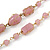 Pink Glass, Ceramic Bead With Gold Tone Wire Long Necklace - 88cm L - view 3