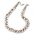 White & Silver Tone Acrylic Bead Cluster Choker Necklace - 38cm L/ 5cm Ex