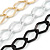 3 Strand, Layered Textured Oval Link Necklace (Black/ Light Silver/ Gold Tone) - 86cm L - view 3