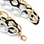 3 Strand, Layered Textured Oval Link Necklace (Black/ Light Silver/ Gold Tone) - 86cm L - view 4
