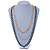 3 Strand, Layered Textured Oval Link Necklace (Black/ Light Silver/ Gold Tone) - 86cm L - view 2