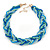 Blue/ Azure/ Light Green Mesh Chain and Silk Cords Choker Necklace In Gold Tone - 42cm L/ 8cm Ext