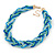 Blue/ Azure/ Light Green Mesh Chain and Silk Cords Choker Necklace In Gold Tone - 42cm L/ 8cm Ext - view 5