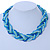 Blue/ Azure/ Light Green Mesh Chain and Silk Cords Choker Necklace In Gold Tone - 42cm L/ 8cm Ext - view 2