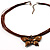 Light Brown Enamel Multi-Stranded Costume Butterfly Pendant - view 2