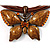 Light Brown Enamel Multi-Stranded Costume Butterfly Pendant