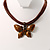 Light Brown Enamel Multi-Stranded Costume Butterfly Pendant - view 4