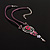Rose And Butterfly Vintage Leather Cord Pendant (Purple, Pink&Lilac) - view 3