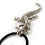 Antique Silver Crystal Lizard Velour Cord Pendant - view 11