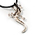 Antique Silver Crystal Lizard Velour Cord Pendant - view 8