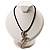 Antique Silver Crystal Lizard Velour Cord Pendant - view 7