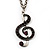 Antique Silver Tone Music Treble Clef Pendant (Purple)