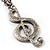 Antique Silver Tone Music Treble Clef Pendant (Purple) - view 6