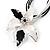 Black&White Enamel Flower Cord Pendant