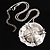 Ethnic Hammered Dome Shaped Crystal Pendant (Silver Tone)