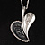 Long Contemporary Heart Pendant (Silver Tone) - view 3