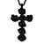 Long Black Rose Cross Pendant