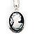 Long Cameo 'Classic Lady' Silver Tone Oval Locket Pendant - 56cm L