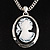 Long Cameo &#039;Classic Lady&#039; Silver Tone Oval Locket Pendant.