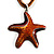 Light Brown Enamel Star Cotton Cord Pendant (Silver Tone)