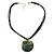 Black Romantic Rose Shell Organza Cord Pendant Necklace - view 4