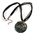 Black Romantic Rose Shell Organza Cord Pendant Necklace - view 2