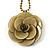 Antique Yellow Acrylic Rose Pendant - 42cm L