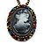 Dark Grey Crystal Cameo 'Lady With Rose Flower' Oval Pendant (Bronze Tone) - view 1