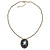 Dark Grey Crystal Cameo 'Lady With Rose Flower' Oval Pendant (Bronze Tone) - view 8