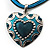 Teal Enamel Heart Cotton Cord Pendant Necklace(Silver Tone) - 40cm Lengh