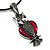 Marcasite Red Enamel Owl On Black Leather Cord Necklace - 40cm Length - view 3
