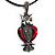 Marcasite Red Enamel Owl On Black Leather Cord Necklace - 40cm Length