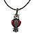 Marcasite Red Enamel Owl On Black Leather Cord Necklace - 40cm Length - view 5