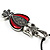 Marcasite Red Enamel Owl On Black Leather Cord Necklace - 40cm Length - view 6
