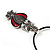 Marcasite Red Enamel Owl On Black Leather Cord Necklace - 40cm Length - view 7