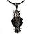 Marcasite Grey Black Enamel Owl On Black Leather Cord Necklace - 40cm Length