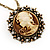 Victorian Diamante Round 'Cameo' Pendant Necklace In Antique Gold Metal Finish - 66cm Length with 6cm extension - view 2