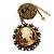 Victorian Diamante Round 'Cameo' Pendant Necklace In Antique Gold Metal Finish - 66cm Length with 6cm extension - view 3